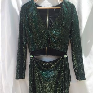 Charlotte Russe Dark Green Full Sequined Set